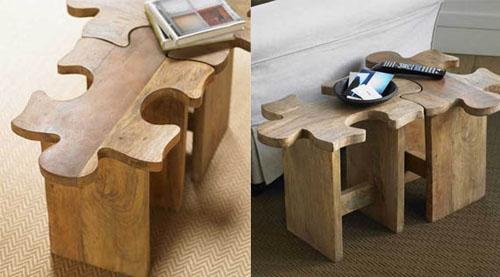 Jigsaw Puzzle Stool, una original mesa-taburete con forma de puzle