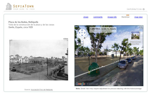 SepiaTown, imágenes históricas de ciudades situadas en el mapa