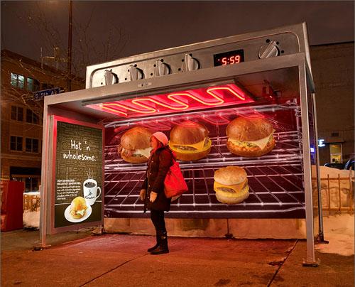 Parada de autobús convertida en horno, de Colle+McVoy para Caribou Coffee
