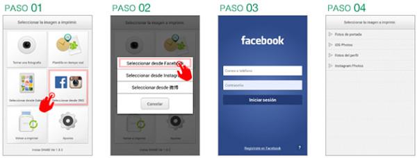 Vincular facebook a instax Share